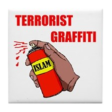 TERRORIST GRAFITTI Tile Coaster