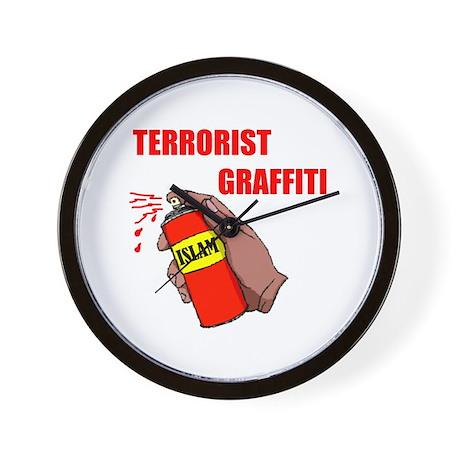 TERRORIST GRAFITTI Wall Clock