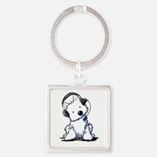 Call Center Westie Square Keychain