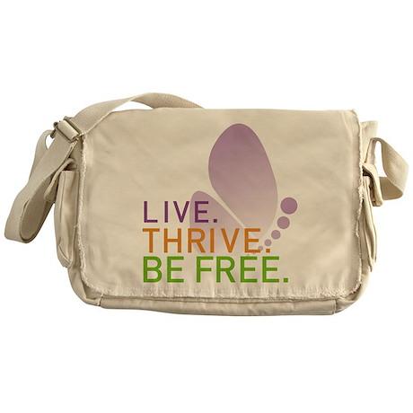 LIVE. THRIVE. BE FREE. Canvas Messenger Bag