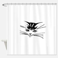 Unique Black cat face Shower Curtain