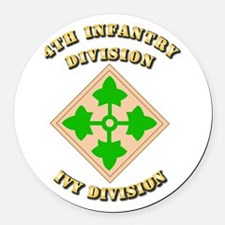 Army - Division - 4th Infantry Round Car Magnet
