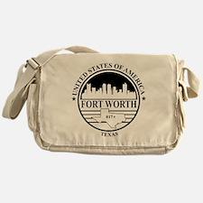 Fort worth logo white and black Messenger Bag