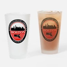 Boston logo black and red Drinking Glass