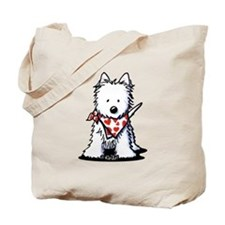 Heart Scarf Westie Tote Bag