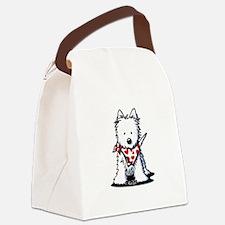 Heart Scarf Westie Canvas Lunch Bag
