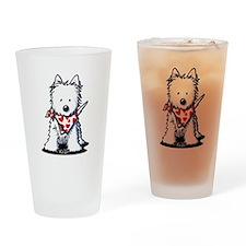 Heart Scarf Westie Drinking Glass