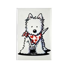 Heart Scarf Westie Rectangle Magnet