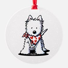 Heart Scarf Westie Ornament