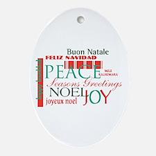 Multilingual Greetings Oval Ornament