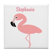 Personalized Flamingo Tile Coaster
