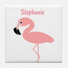 Personalized Flamingo Tile Coaster