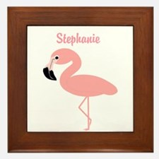 Personalized Flamingo Framed Tile