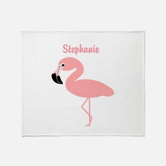 Personalized Flamingo Throw Blanket