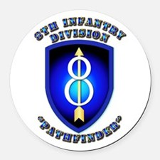 Army - Division - 8th Infantry Round Car Magnet