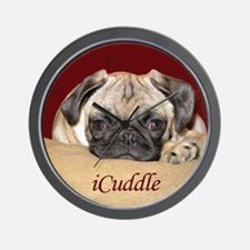 Adorable iCuddle Pug Puppy Wall Clock