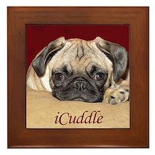 Adorable iCuddle Pug Puppy Framed Tile