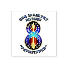 Army - Division - 8th Infantry DUI Square Sticker
