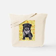 Cute black pug by Artwork by NikiBug Tote Bag