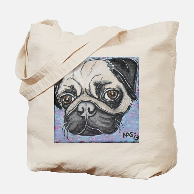 """In your face"" pug by Artwork by NikiBug Tote Bag"
