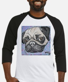 """In your face"" pug by Artwork by NikiBug Baseball"