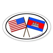 Oval Sticker USA/Cambodia