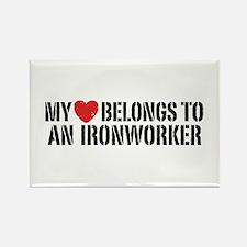 My Heart Belongs To An Ironworker Rectangle Magnet