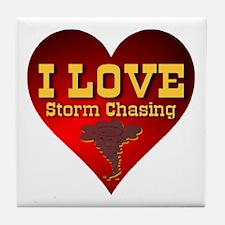 I Love Storm Chasing Tile Coaster