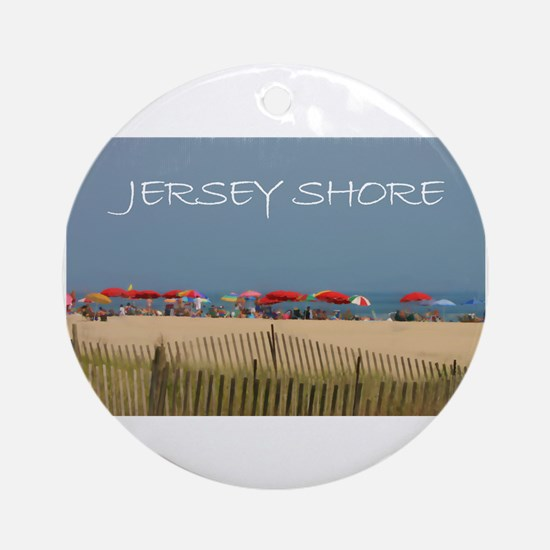Jersey Shore Beach Umbrellas Round Ornament