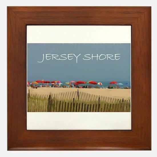 Jersey Shore Beach Umbrellas Framed Tile