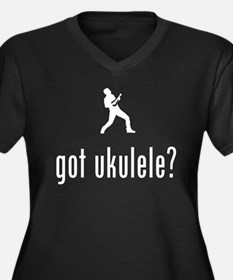 Ukulele Player Women's Plus Size V-Neck Dark T-Shi