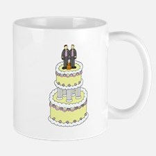 Grooms and a cat on civil partnership cake. Mug