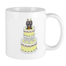 Grooms and a cat on civil partnership cake. Mug