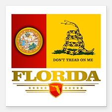 "Florida Gadsden Flag Square Car Magnet 3"" x 3"""