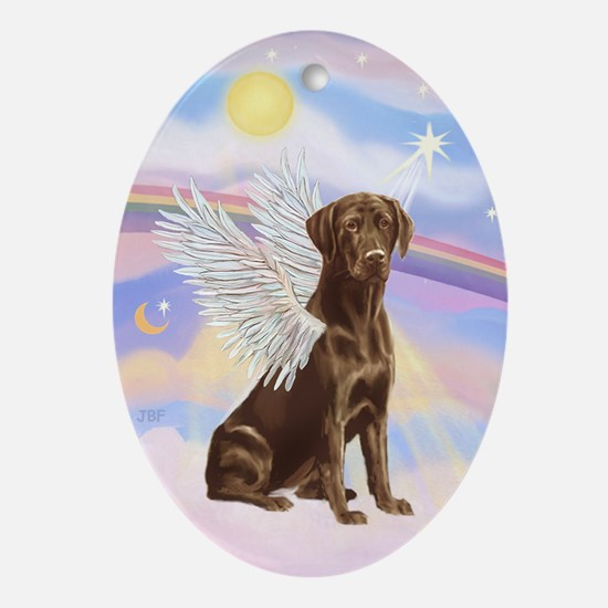 Clouds - Chocolate Labrador Ornament (Oval)