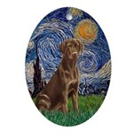 Starry Night-Chocolate Labrador Ornament (Oval)