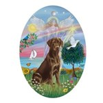 Cloud Angel - Chocolate Labrador Ornament (Oval)