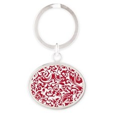 True Red & White Swirls #2 Oval Keychain