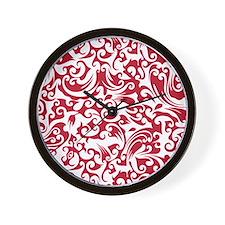 True Red & White Swirls #2 Wall Clock