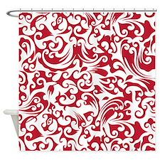 True Red & White Swirls #2 Shower Curtain