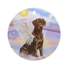 Chocolate Lab Angel Ornament (Round)