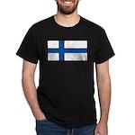 Finland Finish Blank Flag Black T-Shirt