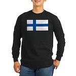 Finland Finish Blank Flag Long Sleeve Black TShirt