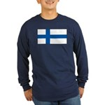 Finland Finish Blank Flag Long Sleeve Blue T-Shirt