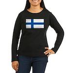 Finland Flag Women's Long Sleeve Brown Shirt
