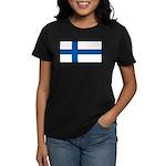Finland Finish Blank Flag Women's Black T-Shirt