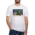 XmasMagic/Cocker (Brn) Fitted T-Shirt