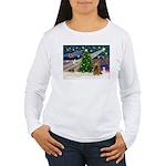 XmasMagic/Cocker (Brn) Women's Long Sleeve T-Shirt