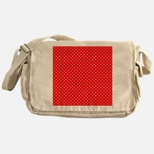 White Hearts on Red Messenger Bag