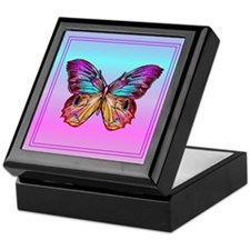Multicolored Butterfly Keepsake Box